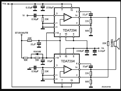 RANGKAIAN IC TDA7294 120W AUDIO POWER AMPLIFIER CIRCUIT