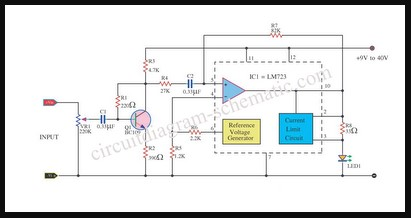 RANGKAIAN LM723 PEAK LEVEL INDICATOR CIRCUIT